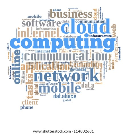 Cloud computing info-text graphics composed in bubble talk sign shape concept (word clouds) - stock photo