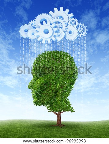 Cloud computing intelligence growth as a green tree in the shape of a human head growing from information raining down from an internet server cloud made of gears and cogs for education.