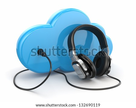 Cloud computing multimedia concept. Headphones and clouds on white background. 3d