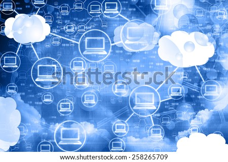 Cloud computing network , abstract background	 - stock photo