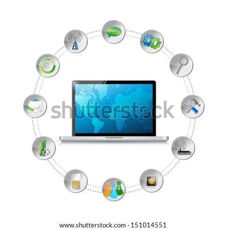 cloud computing network connection tools. illustration design over a white background - stock photo