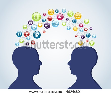 Cloud computing network men head interaction diagram. - stock photo