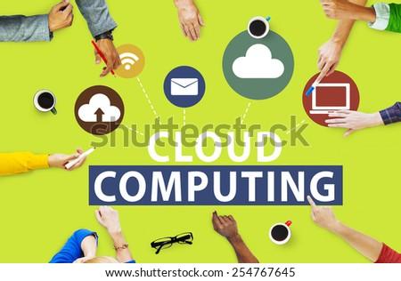 Cloud Computing Network Online Internet Storage Concept - stock photo