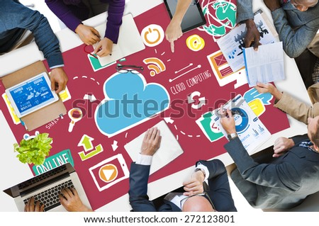 Cloud Computing Network Online Internet Storage Concept - stock photo