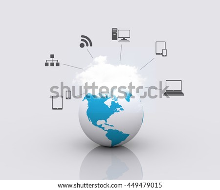 Cloud Computing on the world. - stock photo