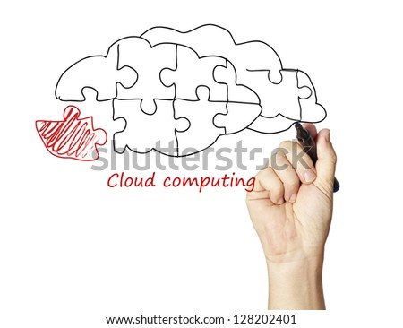 Cloud computing puzzle - stock photo