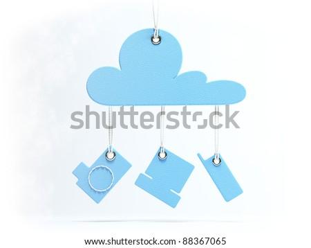 Cloud Computing Retro symbolConcept - stock photo
