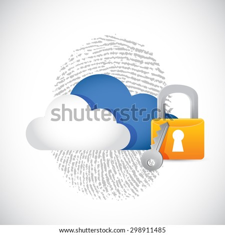 cloud computing secure technology concept illustration design over white