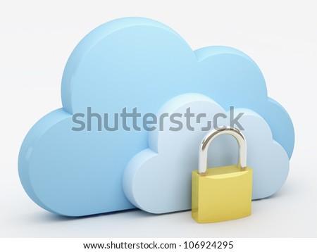 Cloud computing, security - stock photo