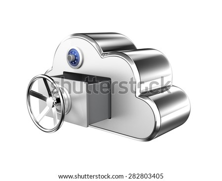 Cloud computing security concept. Clipping path available. - stock photo