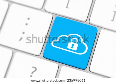 Cloud computing security concept on blue keyboard button close-up - stock photo
