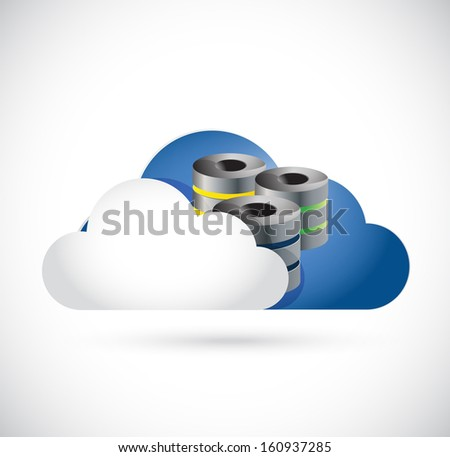 cloud computing server illustration design over a white background - stock photo