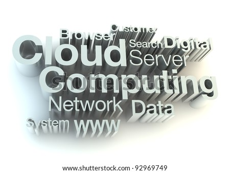 Cloud computing silver letters - stock photo