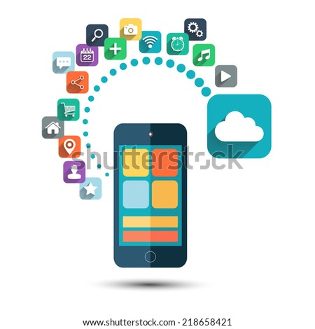 Cloud computing. Smart phone with icons set on white background illustration.