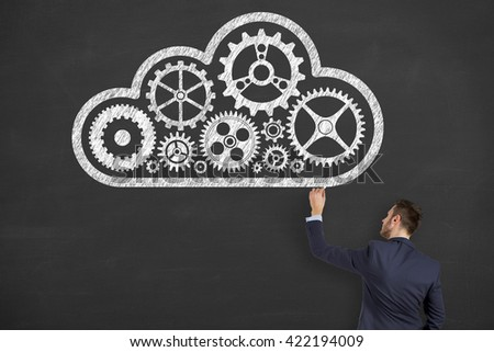 Cloud Computing Solution Concept on Blackboard Background - stock photo