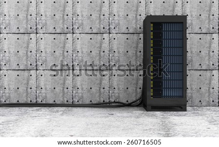 Cloud Computing, Storage Data and Information Concept. Modern Server Rack with a Heavy Wire Cables in a Concrete Room Interior. 3D Rendering - stock photo