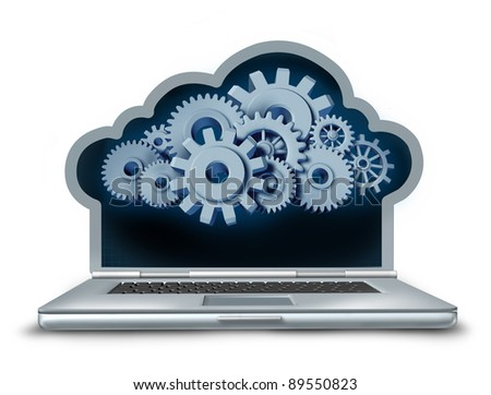 Cloud computing symbol represented by a laptop computer in the shape of a cloud providing streaming digital content from a remote server to the computing device made of gears and cogs. - stock photo