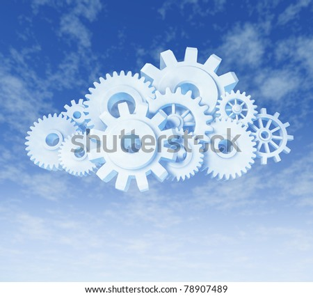 Cloud computing symbol representing data resources accessible with a computer and an internet connection. - stock photo