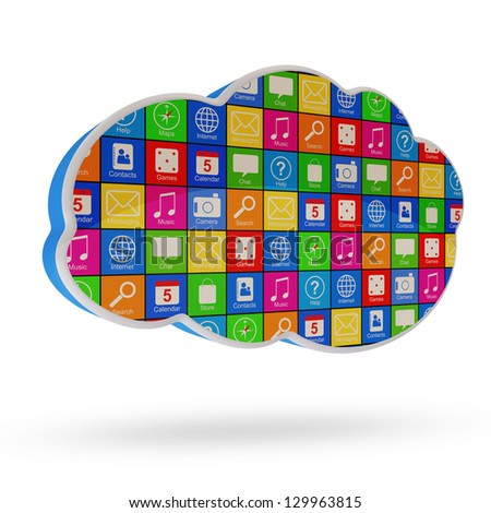 Cloud Computing Symbol with Apps isolated on white background