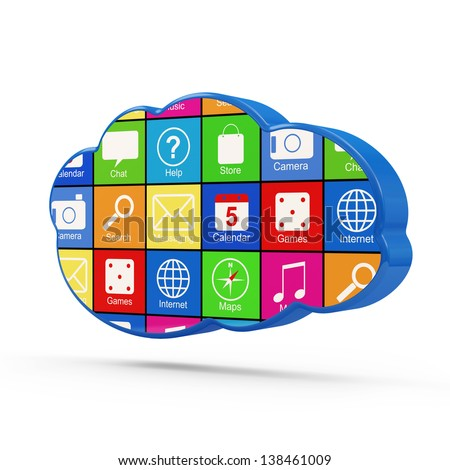 Cloud Computing Symbol with Apps isolated on white background - stock photo