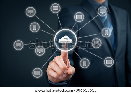 Cloud computing synchronization. Information technology devices (PC, notebook, tablet, mobile phone) synchronization (sync) via cloud computing storage.