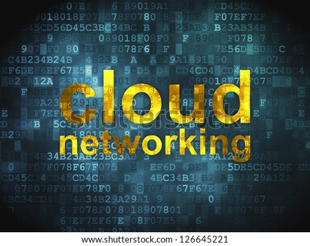 Cloud computing technology, networking concept: pixelated words Cloud Networking on digital background, 3d render