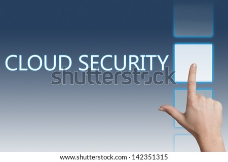 Cloud computing technology, networking concept: words cloud security on digital touchscreen. - stock photo