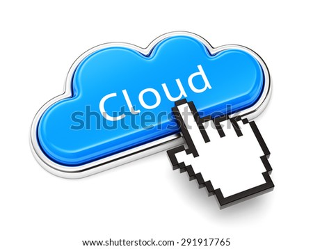 Cloud computing technology, online storage service and security concept. Button with text and computer mouse cursor isolated on white background. - stock photo