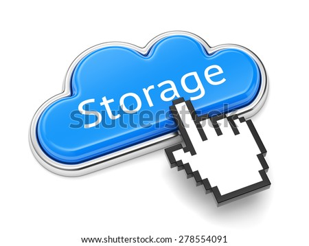 Cloud computing technology, online storage service and security concept. Button with text Storage and computer mouse cursor isolated on white background. - stock photo