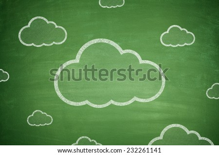 Cloud computing technology scheme on green Blackboard - stock photo