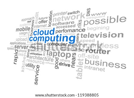 Cloud Computing Technology - Word Cloud - stock photo