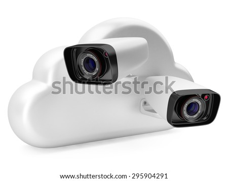 Cloud computing with a security camera. 3d illustration on a white background.