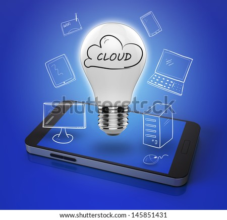 Cloud computing with mobile phone - stock photo
