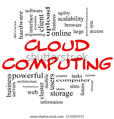 Cloud Computing Word Cloud Concept in red and black letters with great terms such as client, data, information, storage, sync, access, servers and more - stock photo