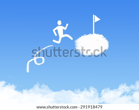 cloud concept, the way to success in blue sky - stock photo