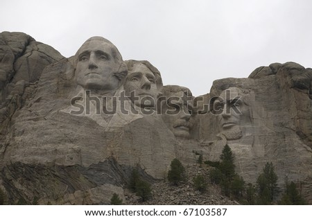 cloud cover is thick in this photo of Mount Rushmore - stock photo