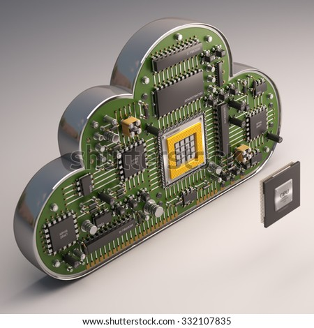 Cloud CPU. Electronic circuit chip on Cloud. gray background. High resolution 3d render