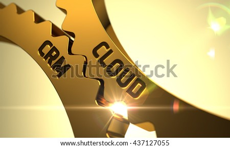 Cloud CRM - Technical Design. Cloud CRM on Mechanism of Golden Cogwheels with Lens Flare. Cloud CRM - Concept. Cloud CRM - Illustration with Glowing Light Effect. 3D. - stock photo