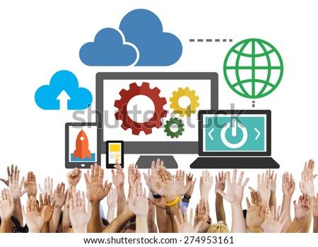 Cloud Data Storage Database Online Technology Concept - stock photo