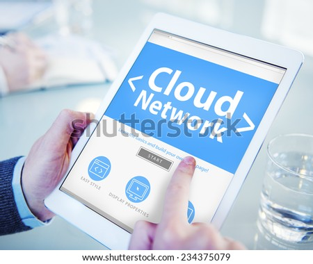 Cloud Digital Network Online Office Working Concept - stock photo