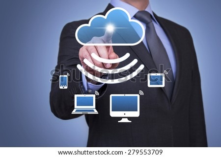 Cloud Domputing and Wi-Fi Technology Concept - stock photo