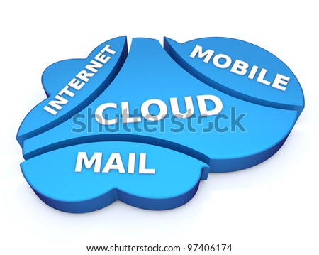 Cloud email concept - stock photo