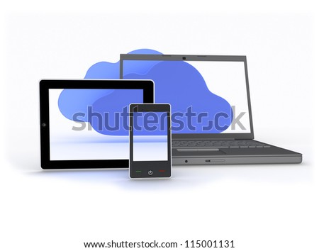 Cloud Enabled Devices Group of laptop, tablet and phone showing cloud capability Isolated on White Background