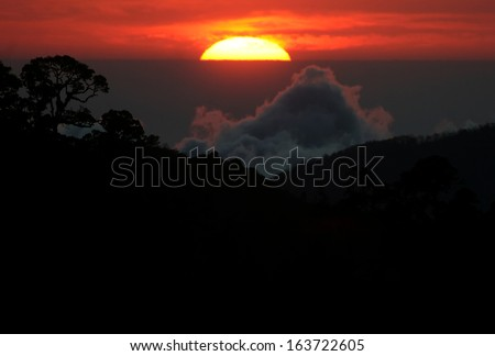 Cloud forest Sunset, Mirador de Quetzales, Costa Rica - stock photo