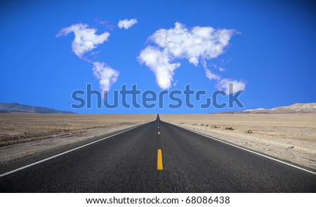Cloud formation in the shape of a map of the world - stock photo