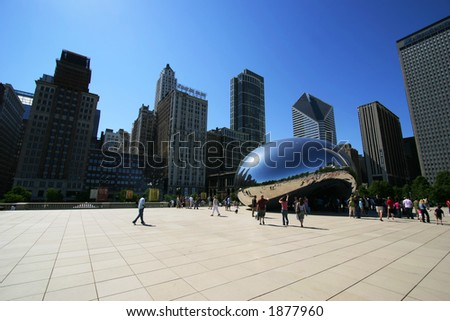 """Cloud Gate (aka """"The Bean"""") in Chicago's Millennium Park.  Editorial only.  (3257) - stock photo"""