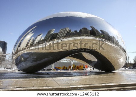 Cloud Gate also known as the Bean, in Millennium Park, Chicago - stock photo