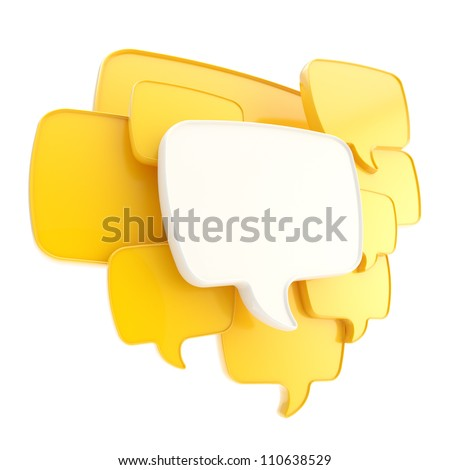 Cloud group of yellow speech text bubbles composition as copyspace banner plate isolated on white - stock photo