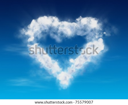 Cloud heart. Illustration. - stock photo