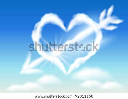 Cloud heart in the sky and arrow. Raster version of vector. - stock photo